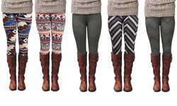 P114-3 Women's Orange/Aqua Tribal Print Fashion Legging