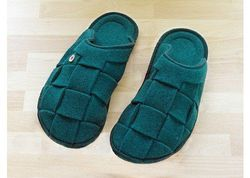 Renudo Amore Wool Italian Slipper - Emerald - Size: Medium
