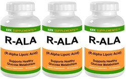KRK Supplements 3 Bottles R-ALA R-Alpha Lipoic Acid 200mg 270 Total Caps