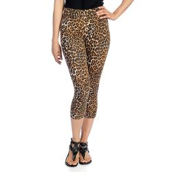K&M Women's Stretch Knit Pull-on Capri Leggings - Animal Capri - Size: 1x