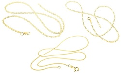 Sterling Silver Flat Marina Gold Plated Chain - Size: 20""