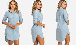 Solid Long SleeveButton up Shirt Dresses Style - Blue - Size: Medium