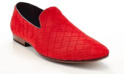 Henry Ferrera Velour Slip-on Smoking Shoes Tjs-300 - Red - Size: 12