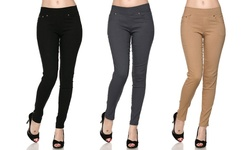 Women's 5-Pocket Skinny Pants (3-Pack) - Size: S/M