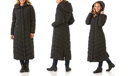 Semi Memory Hooded Chevron Quilted Coat - Black-Maxi - Size: Small