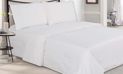 Ultra-Luxe Double-Brushed Microfiber Embossed Sheets - White - Size: King