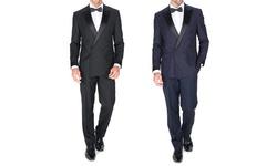 Braveman Slim-fit Double Breasted Tuxedo - Black - 44sx38w - 2Piece