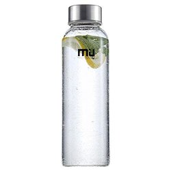 MIU COLOR Borosilicate Glass Water Bottle , 12oz without Tea infuser, Grey Sleeve
