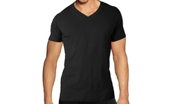 Men's V Neck Under Shirt - Black - Size: Small - Pack of 3