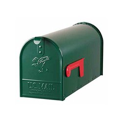 Elite Medium Size Galvanized Steel Post-mount Mailbox, Green