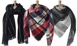 Azuri Women's Oversized Check Striped Plaid Square Blanket Scarf - Red