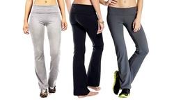 Women's  Foldover Yoga Pants - 3-Pack -  Black/Charcoal /H. Grey - Size: S
