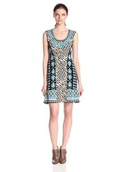 Nanette Lepore Women's Safari Zebra Print Sweater Dress - Lagoon - Size: M