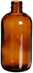 Wheaton Amber Glass Safety Coated Boston Round Bottle Case of 48 - 8oz