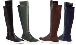 French Blu Women's Clarissa Knee High Fashion Sneaker Boot - Navy - Size: 11