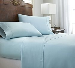 ienjoy Home 4 Piece Home Collection Premium Embossed Chevron Design Bed Sheet Set, King, Aqua