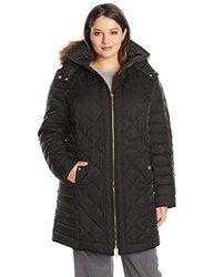 Plus Size Women's Down Coat With Faux Fur Trim Hood: Black/ 1x