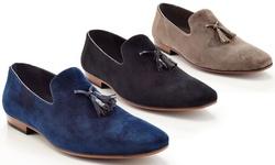 Henry Ferrera Slip-on Loafer Smoking Shoe With Tassels: Navy/9
