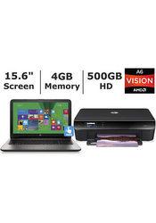 "HP 15.6"" Laptop 1.8GHz 4GB 500GB Windows 8 W/ HP Envy 4500 Printer"