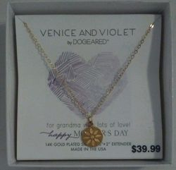 "Dogeared Venice & Violet 14k Daisy Disc Necklace 18"" Happy Mothers Day"