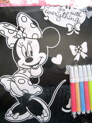 "Disney Minnie Mouse Velvet Coloring Sheet 6 Markers Poster Art Kit 8""x10"""