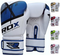 RDX Maya Hide Leather Boxing Gloves - Blue/White