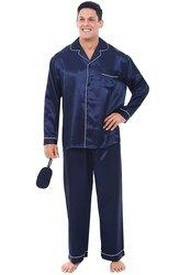 Del Rossa Men's Long Button Down Satin Pajamas Set - M Blue - Size: XL