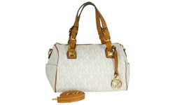 WK Printed Leather Handbag - White/Camel