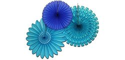 Devra Party Decorating Kit Tissue Paper Fans - Blue Skies/Blue