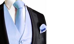 Daily Haute Men's Vest/Tie & Pocket Square Set - Light Blue - Size: 2XL