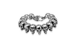 Biker Skull Cast Stainless Steel Bracelet -  Size: 8.75 inches Long