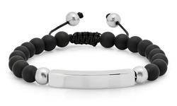 Steeltime Unisex Beaded Drawstring ID Bracelet - Black