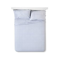 Sabrina Soto Grid Sheet Set - Gray/White - Size: Queen