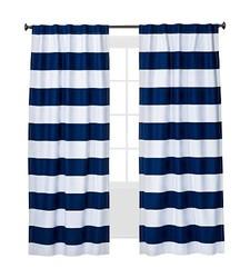 "Pillowfort  Light-blocking Lined Curtain Panel - Blue Stripe - 42"" X 84"""
