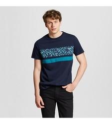 Mossimo Men's Palm Print Stripe T-Shirt - Navy - Size: L