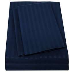 1500 Supreme Collection Dobby Striped Sateen 4 Piece Bed Sheet Set Deep Pocket - All Sizes, 23 Colors - California King, Dobby Stripe Navy