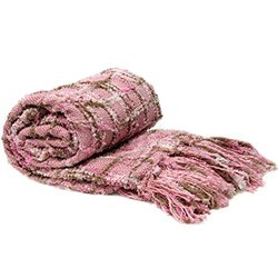 """BNF Home Multi-Color Chenille Couch Throw Blanket Light Pink (50x60)"""""""