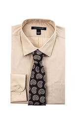 New Ivy Crew Men's 2pc Solid Color Dress Shirt Box Set - Taupe - Size: 15