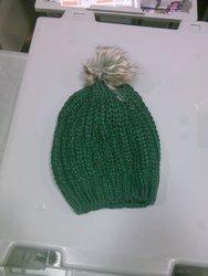 Merona Women's Hand Knit Wool Beanie w/ Faux Fur Pom - Green
