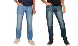 Men's Skinny Whiskered Jeans - 2 Pack - L Blue/ D Blue - Size: 36/30