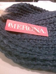 Merona Women's Hand Knit Wool Beanie w/ Faux Fur Pom - Navy