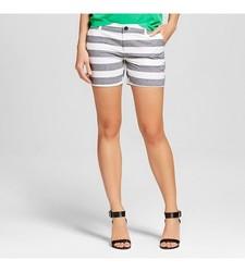 "Merona Women's Striped 5"" Chino Short - Black/White - Size: 16"
