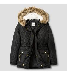 Cat & Jack Girls' Anorak Jacket - Black - Size: Small