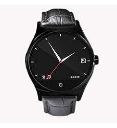 EasySMX Unisex Rwactch R11 Leather Strap Bluetooth Smart Watch - Black