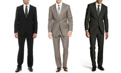 Umberto Bonelli Men's 2 Piece 2 Button Classic Fit Suit: Navy-46rx40w