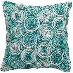 Avarada Triple Colour Floral Bouquet Throw Pillow Cover Decorative Sofa Couch Cushion Cover Zipper 16 x 16 Inchs (40x40 cm) Teal Green