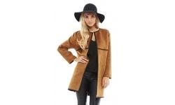 AX Paris Women's Faux Suede Jacket - Tan - Size: 10