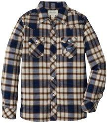 Diesel Big Boys' Cufiggi Plaid Button Front Shirt, Blue, Large