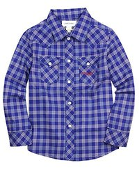 Diesel Big Boys' Cufiggix Yarn Dyed Check Button Front, Royal, 10 Years
