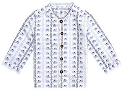 JoJo Maman Bebe Nehru Shirt (Baby)-Blue-12-18 Months